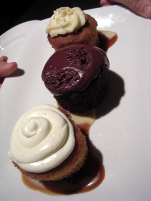 A fine cupcake trio is one of the many desserts at Park Grill.