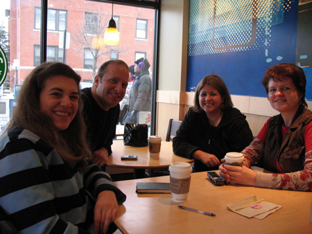 Bridget, Joe, Lisa and Tammy (left to right) caught podcasting in public.  At Starbucks no less!