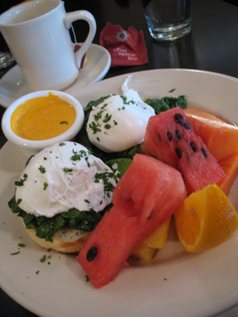 Eggs Benedict and an odd combination of fruit at Deleece.