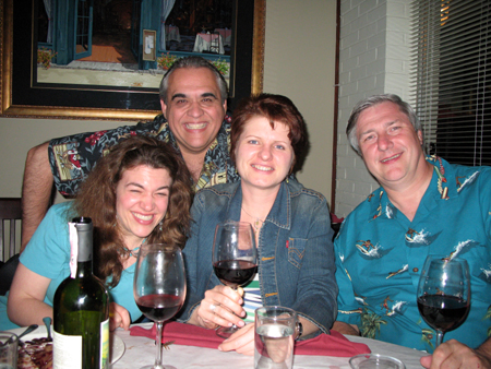 (Left to Right) Bridget, Lingo, Tammy and Phil toast to an evening of suburban dining and good company.