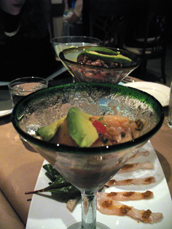 Some of the appetizers are served in martini glasses.  So are the margaritas!