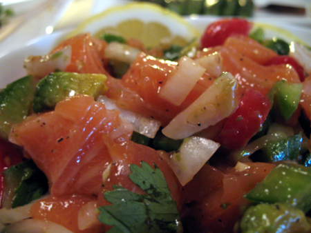 The salmon ceviche was one of the best dishes on the menu.