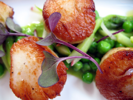 Fresh seared scallops in mint sauce at the Custom House deliver an unforgettable layered taste.