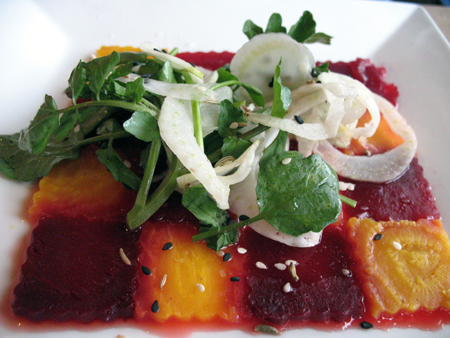 The beet salad is presented beautifully and is tasty too.