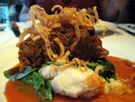 The meatloaf is a house specialty, but it's not as tasty as we hoped it would be.