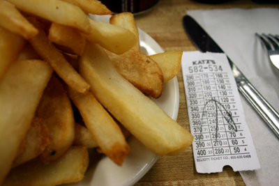 The fries at Katz and an order ticket.  Remember NYC delis are usually cash only.