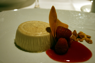 The honey pannacotta with raspberries was the perfect combination of sweet and tart.
