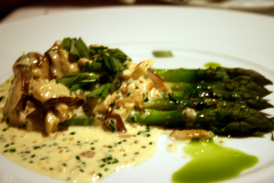 Warm asparagus with truffle sauce is what heaven tastes like.