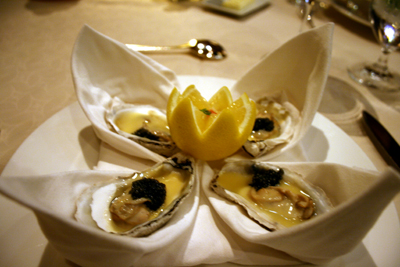 Tammy's tasty poached oysters topped with caviar.