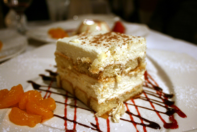 The tiramisu was memorable only because it photographed well.