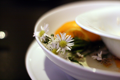 Aromatic chamomile sets the stage for a Grant Achatz creation.