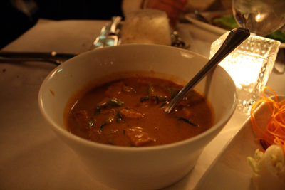 The panang curry was a tasty entree.