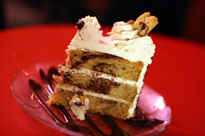 The cookies and cream cake could pass for non-veggie fare.