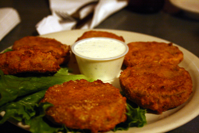 There aren't many vegetarian choices at Stubb's, but the fried green tomatoes are a suitable option.