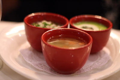 The soup trio starter is a good way to try all of the soups on the menu at Parrot Cage.