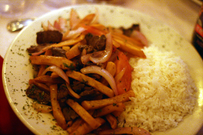 Chinese influence shows in the Lomo Saltado.