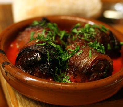 The chorizo-stuffed madjool dates are a house specialty and were a hit at our table.