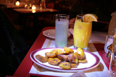The plantains and margaritas were tasty and disappeared quickly.