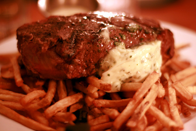 The steak frites were a popular entree at our table.