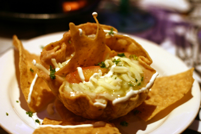 The bean dip is served in a bowl that you can eat!