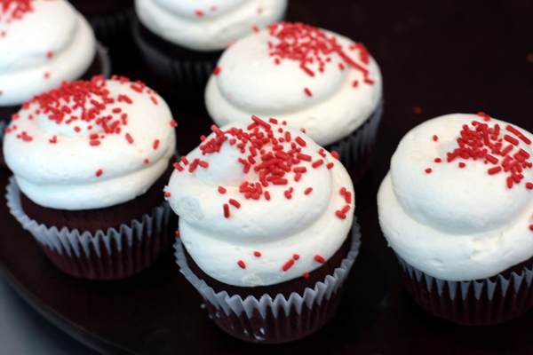 A selection of red velvet cupcakes