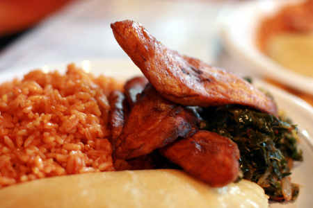 "Plate of Nigerian food catered by <a href=""http://www.yelp.com/biz/iyanze-restaurant-chicago"">Iyanze</a>."