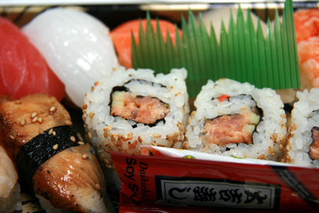 A variety-pack of sushi is priced to sell but isn't the best quality available.