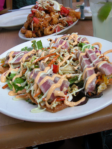 A tuna tostada and calamari can be a full meal. Photo courtesy of SJ Compton