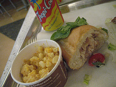 whitefish lunch roll with mac and cheese