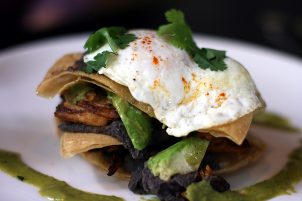 The pork and egg tostada can be made vegetarian.