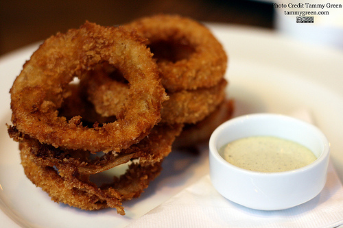 The onion rings were delicious, but a little expensive.