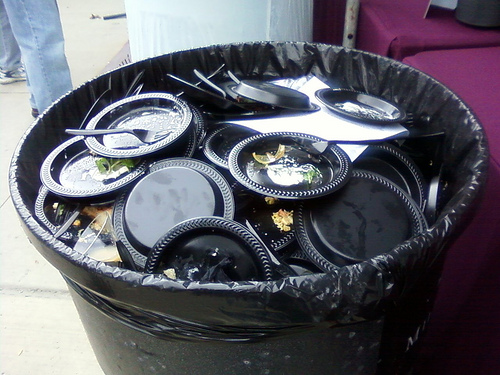 Trash cans were filled to the brim with very little to recycle.